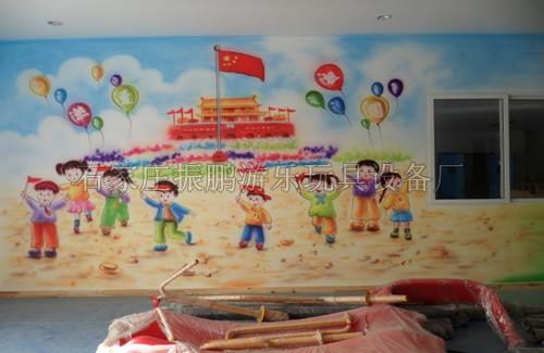 墙面环境布置,幼儿园走廊墙壁环境装饰,幼儿园楼梯墙体喷画,河